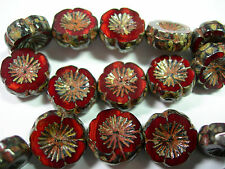 10 beads -Red Opal Travertine Czech Glass Flower Beads 14mm