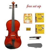 New 3/4 Size Acoustic Violin,Case,Bow+Bonus 2 Extra Sets of Strings,Rosin,Tuner