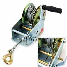 1200LB MANUAL BOAT 545kg MARINE TRAILER HAND POWERED WINCH 10M WIRE STRAP HOOK