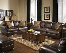 "New Ashley ""Axiom"" Vintage Casual  All Leather Sofa Set Furniture 42000"
