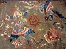 ANTIQUE 19th c QI'ING CHINESE EMBROIDERED PANEL/ FRONTAL PHOENIX EMBROIDERY!