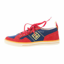 100% authentic BN CHANEL canvas sneakers sports blue red suede yellow flats 37