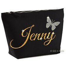PERSONALISED MAKE UP BAG WITH YOUR NAME IN SHINY GLITTER GIFT PRESENT CHRISTMAS