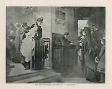 ANTIQUE FUNERAL CORTEGE MOURNING SORROW SOLEMN ARTIST E CARTERON SMALL ART PRINT