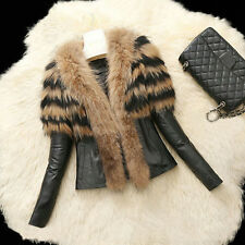 Women Faux Leather Fur Long Sleeve Coat Jacket Outerwear Short Overcoat Winter L