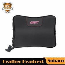 Real Leather Headrest Soft Memory, Neck Pillow Rest Cushion Car For Subaru STI