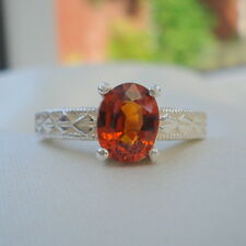 1.58ct Orange Spessartite Sterling Silver Ring
