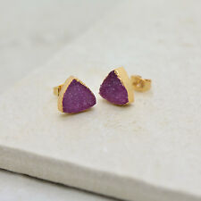Natural PINK Triangle Druzy Crystal Earring Studs 24K Gold Dipped Earrings