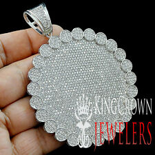 White Gold Finish Mens Big Bold XL Iced Out Swag Round Flower Medallion Pendant