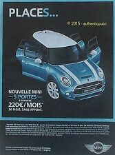 PUBLICITE AUTOMOBILE MINI COOPER S 5 PORTES VOITURE DE 2015 FRENCH AD PUB CAR