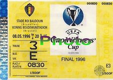 Photo Ticket Billet 1996 PSG Paris Saint Germain Rapid Vienne Finale Europe C2
