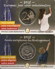 """Belgien 2 Euro Gedenkmünze, 2015, """"Entwicklung"""", Coincard, wallonisch"""