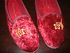 SF Plush Damson Red Floral Embroidered Slippers 5 UK 38 Eur