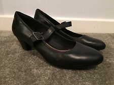 NEW Clarks Artisan Extra Wide Fit Buckle Black Leather Heels UK 9