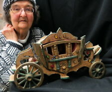 early folk art royal doll CARRIAGE / COACH Pull Toy cast wheels well worn velvet