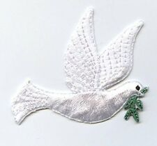 Embroidered Patch - Iron on Applique - Christmas - Peace Dove - Flying Right