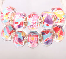 NEW 5pcs SILVER MURANO bead LAMPWORK fit European Charm Bracelet DIY #12