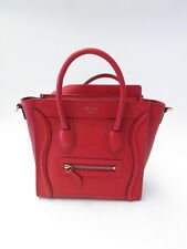 Celine Bag Nano Luggage Drummed Leather Tote Red New without Tags