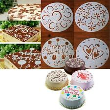 4PCS Round Cake Sugarcraft Mold Icing Cutter Decorating Stencil Happy Birthday
