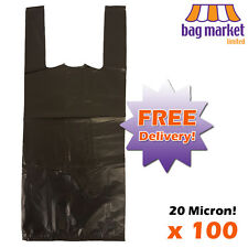 "100 x Black HT Plastic Vest Wine/Bottle Carrier Bags! | 8"" x 13"" x 18"" 