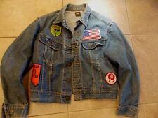 Vtg LEE DENIM JEAN JACKET M PATD 153438 Union USA Orig Patches Smoking Weed Dope