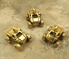 3 Gold Tone Pewter Charms -MONSTER TRUCK -5417