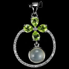 NATURAL PERIDOT, WHITE MOONSTONE & Cubic Zirconia .925 Sterling Silver PENDANT