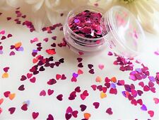 Nail Art Sparkle Holographic *Pink Hearts* Valentines Pot Spangle Glitter Tip V3