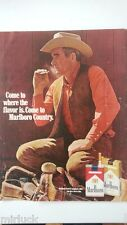1969 Marlboro Red Gold Cigarettes Cowboy hat Chaps Saddle Smoking Ad AS IS