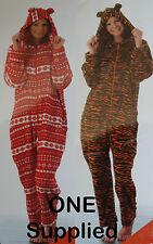 NEW 1x Sz M-XL Onesie Tiger OR Fair isle Snowflake Zip Hood Fleece Suit Pj