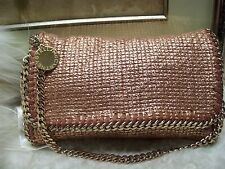 Authentic Stella Mccartney Falabella Metallic Rose Gold Chain Clutch Bag $1350