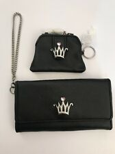 Bee The Queen Mary Kay Makeup Wallet Coin Purse Black Leather Wristlet Crown