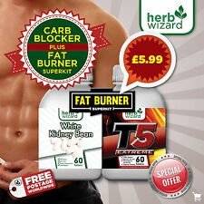 CARB BLOCKER ULTRA White Kidney Bean Extract Diet Pills + T5 Fat Burner MEGA KIT
