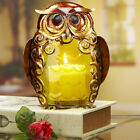 OWL CANDLE HOLDER - METAL & COLORED GLASS