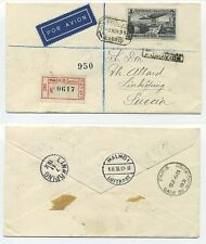 T5143 / SPAIN / NICE REG. AIR MAIL COVER TO SWEDEN 1931 W. 4P., SCARCE.