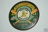 "RARE Aged Vintage 1989 Oakland A's Pin Pinback 3"" Button World Champions MLB"