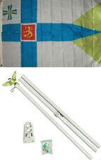 3x5 Finland Royal Flag White Pole Kit Set 3'x5'