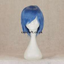 Short layered cosplay wig with fringe in cobalt blue, UK seller, Prince style