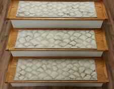 """Rug Depot 13 Contemporary Carpet Stair Treads 31"""" x 9"""" Staircase Rugs Ivory Poly"""