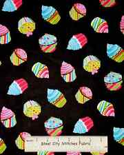 Timeless Treasures Cupcake Black C9676 Cup Cake Party Toss Cotton Fabric YARD