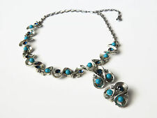 Vintage 1950's Coro Turquoise & Blue Rhinestone Wave Choker Necklace Earring Set