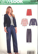6351 NEW LOOK Misses Denim Jean Jacket Pants Drawstring Top Skirt Pattern UC