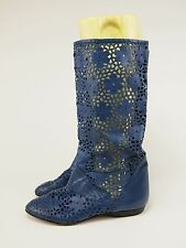 1980s MONETBELLO Vtg Italian Blue Leather Cut-out Riding Boots Womens 40 - 8.5