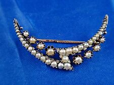 Antique Art Nouveau 14K Yellow Gold Diamonds and Pearls Handmade Pin Brooche