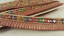 *Attractive bronze & multi trim sequenced pleated fringe lace 4 crafting 1M