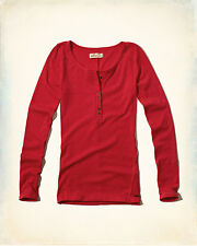 New  Ladies Hollister, Abercrombie & Fitch. Red Long Sleeved Henley Top. Size XS
