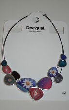 DESIGUAL 2016 NECKLACE necklet enamel 61G55B5 COLLAR Chapas Happy Bazar pink