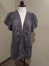 RARE Anthropologie MOTH Umpteen Cardigan sweater gray tunic short sleeve Medium