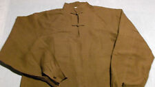 Peasant Hemp Shirt, Two Knot Button Pullover, Chinese Collar, Natural Plant Dye