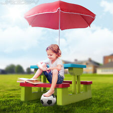 Kids Picnic Bench Set Parasol Table Children's Garden Furniture Outdoor 4 Seater